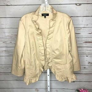 Talbots 3/4 Sleeve Ruffle Front Jacket 14